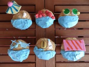 Receta Cupcakes playeros (cupcakes de vainilla con frosting de mango y albaricoque)