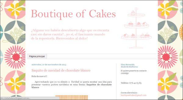 Página web Boutique of cakes
