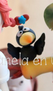 "Receta Mini tutorial ""El cuervo"" en pasta de azúcar"