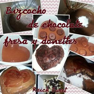 Receta Bizcocho de chocolate, fresa y donettes
